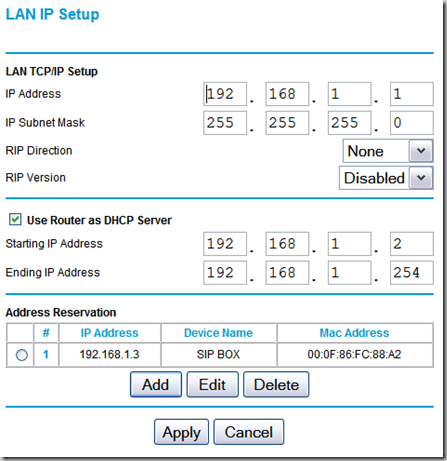 DHCP setup on the router