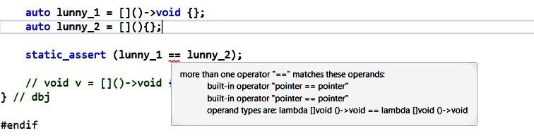 MSVC error when comparing two lambdas
