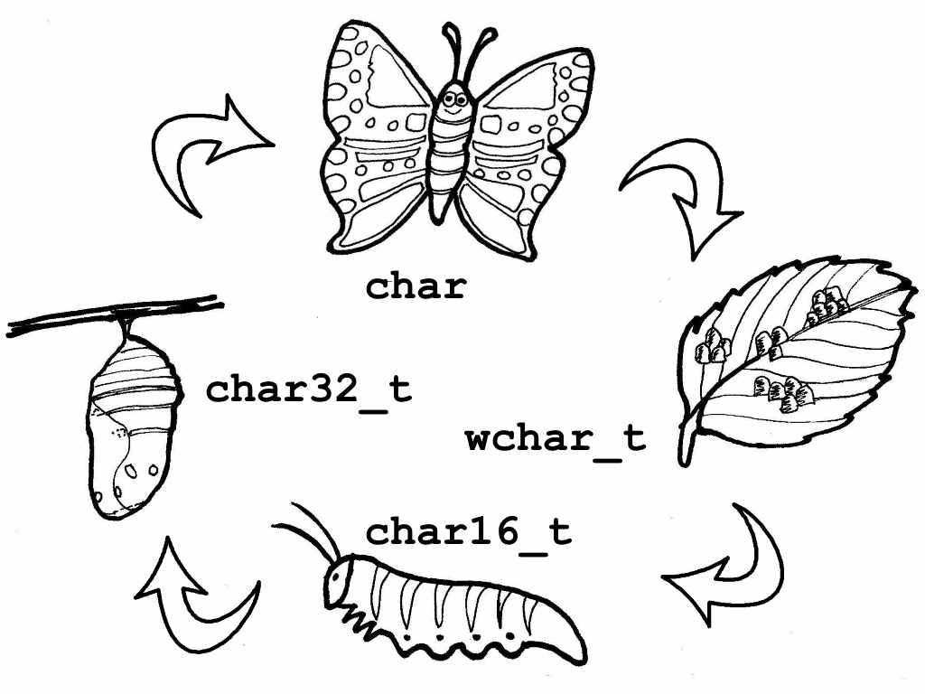 Four standard char types can be transformed to each other