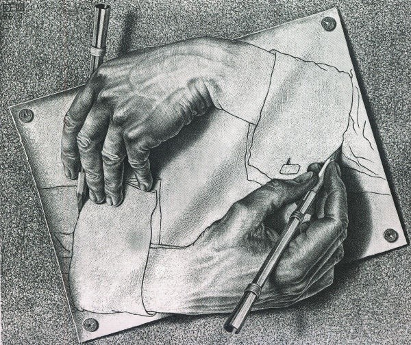 Drawing Hands is a lithograph by the Dutch artist M. C. Escher